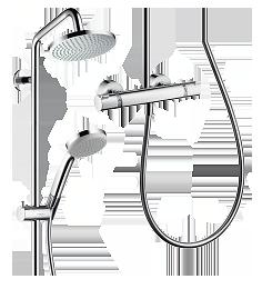 hansgrohe croma 160 1jet showerpipe 27135000 badarmatur chrom. Black Bedroom Furniture Sets. Home Design Ideas